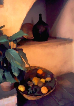 Wine Jug and Basket of Fruit 2