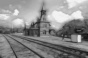 #87 Point-of-Rocks Train Station Graphic Sketch